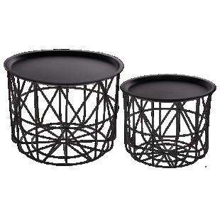 FLY-set de 2 tables basses en metal noir