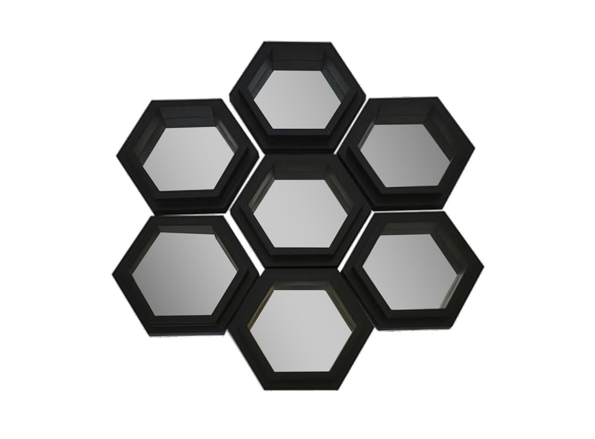 Lot 7 miroirs hexagonales 20.5x23cm - cadre en mdf noir
