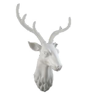 FLY-trophe cerf 61,5x47cm blanc