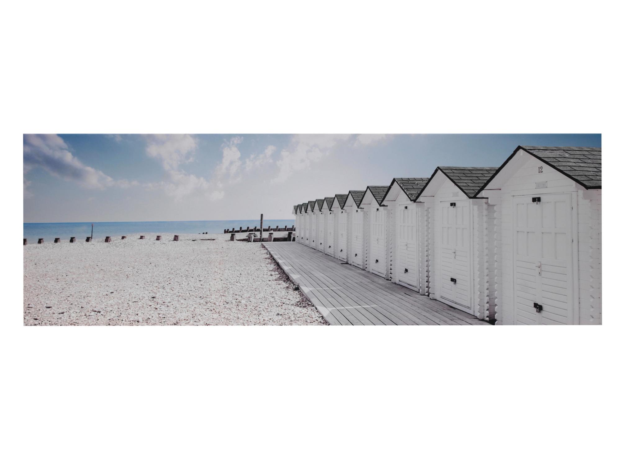 Toile imprimee 120x40 cm plage bleu blanc noir fly for Miroir 120x40