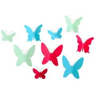 FLY-lot de 9 decorations murales forme papillons multi