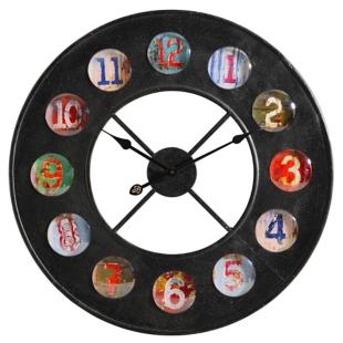 FLY-horloge en fer d70cm gris/multicolore