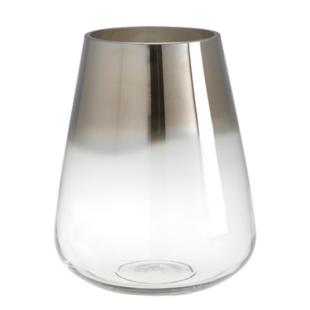 FLY-vase en verre souffle h. 23 cm transparent/argent