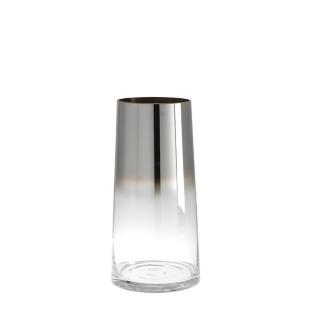 FLY-vase en verre souffle h. 32 cm transparent/argent