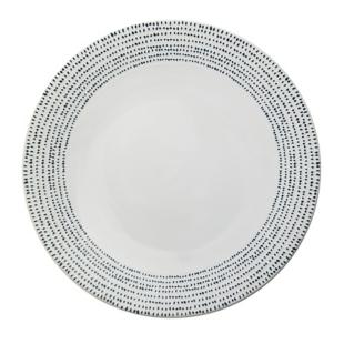 FLY-assiette plate en gres d27cm blanc/bleu