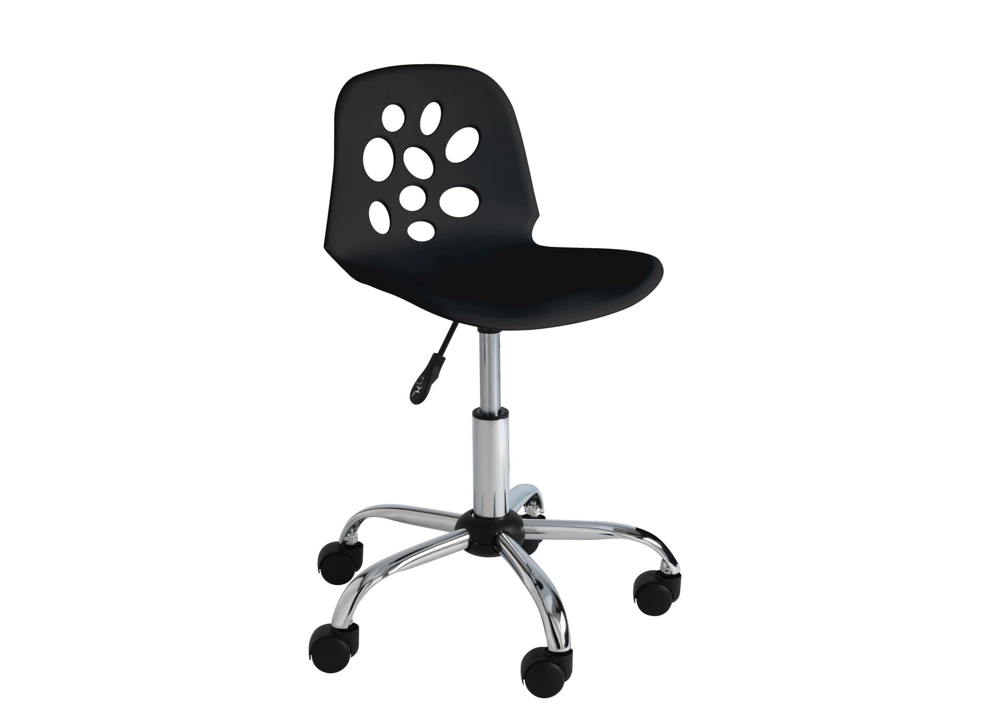 chaise de bureau sur roulettes chrome noir fly. Black Bedroom Furniture Sets. Home Design Ideas