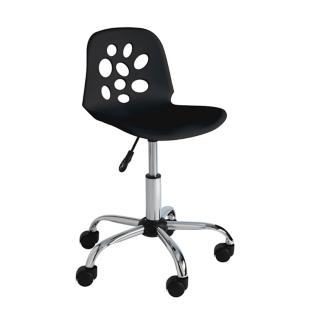 FLY-chaise de bureau sur roulettes chrome/noir