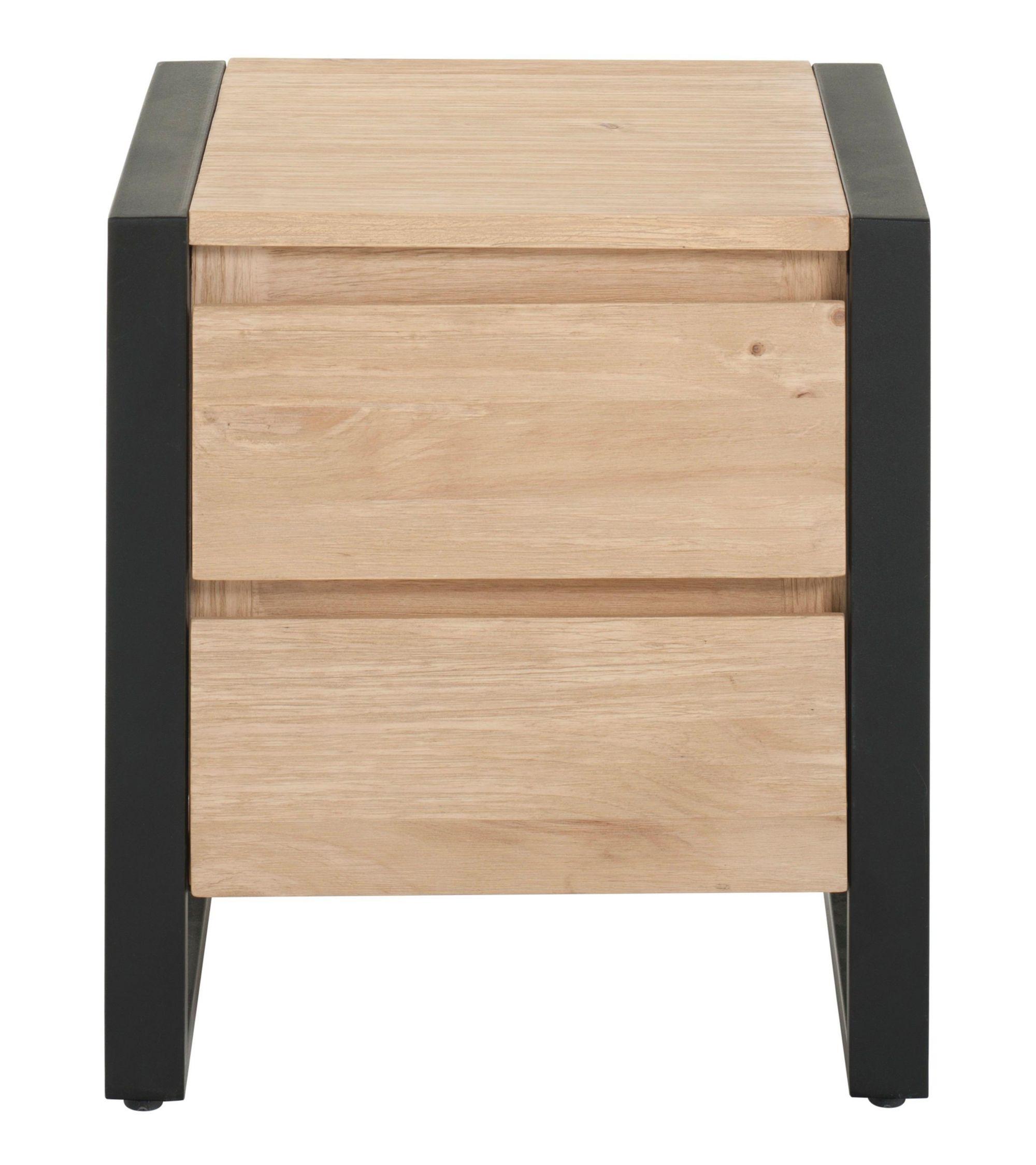 Chevet 2 tiroirs noir miel Chevet Chambre Meuble