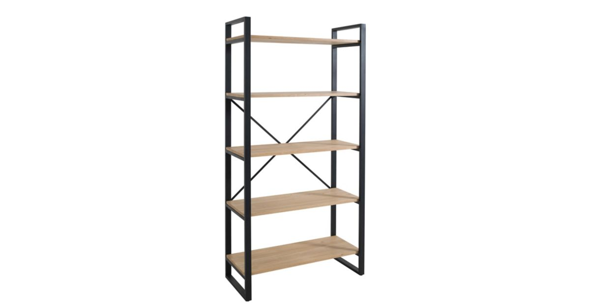 Etagere 5 tablettes noir miel fly - Etagere bibliotheque fly ...