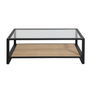 FLY-table basse verre/noir/miel