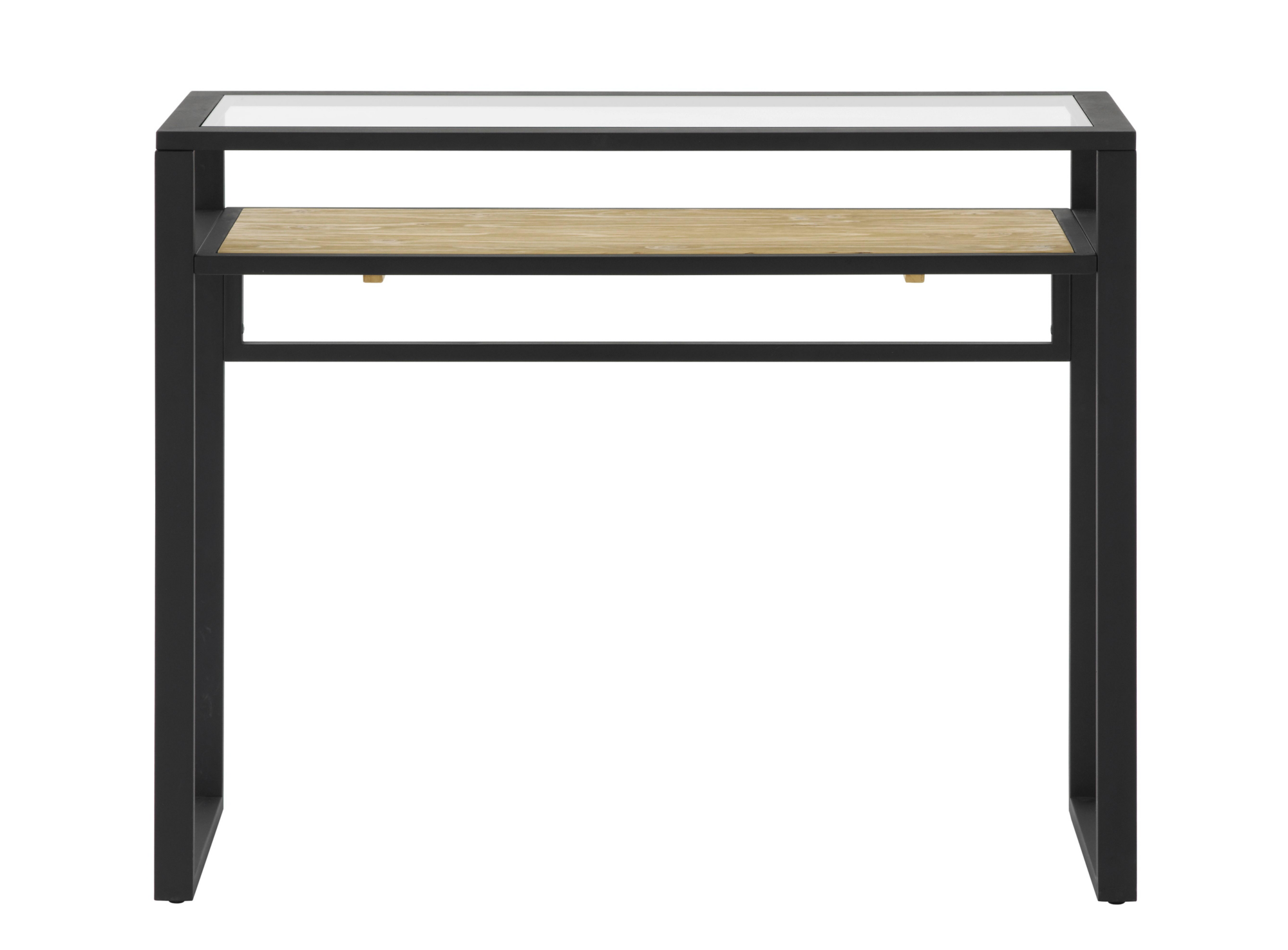 Table console verre noir miel fly for Console de bureau