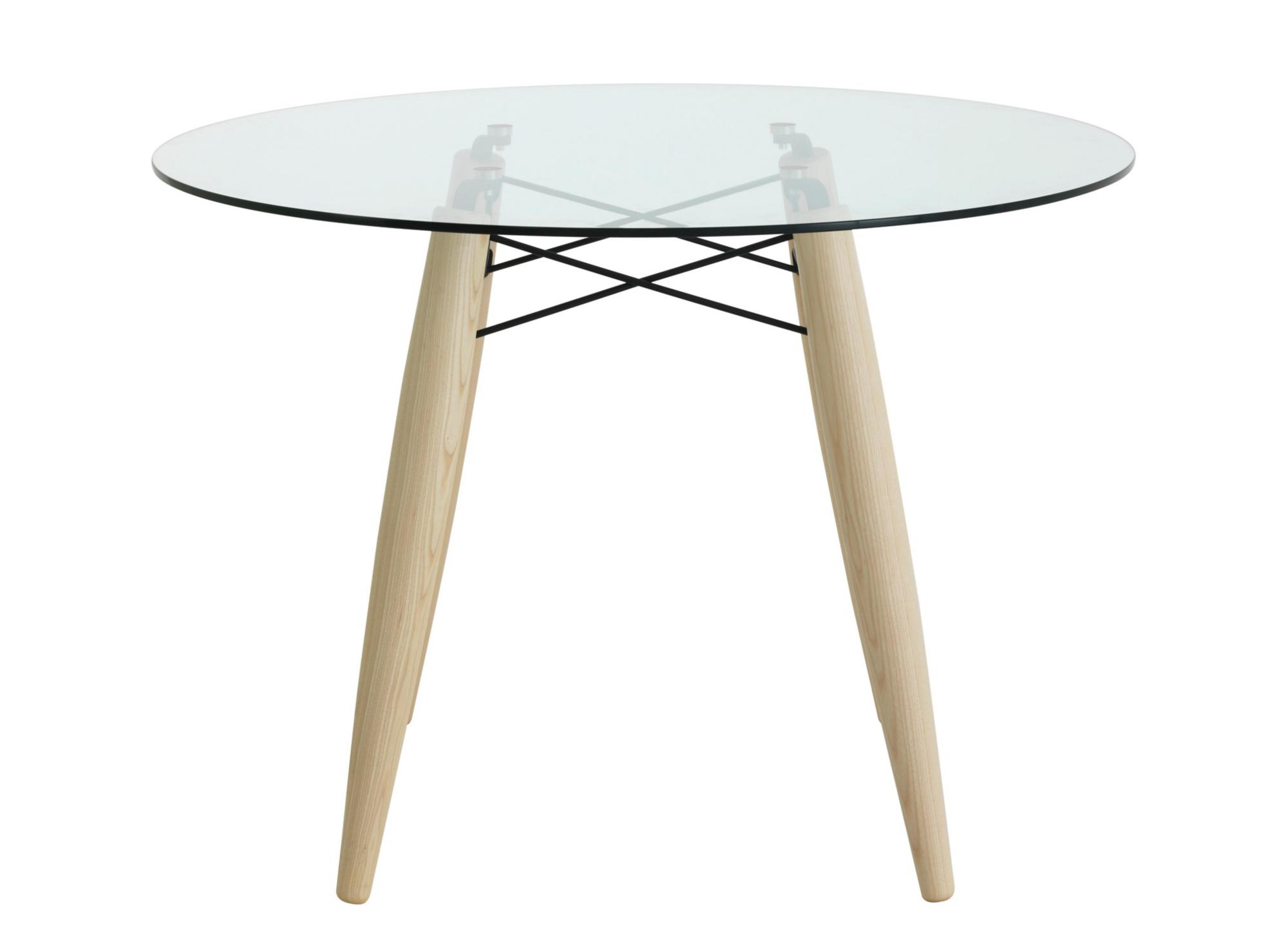 Table ronde. pietement en frene massif blanchi et fils acier laque ep ...