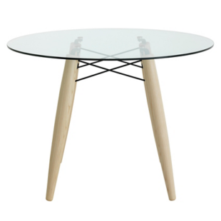 FLY-table ronde frene/verre