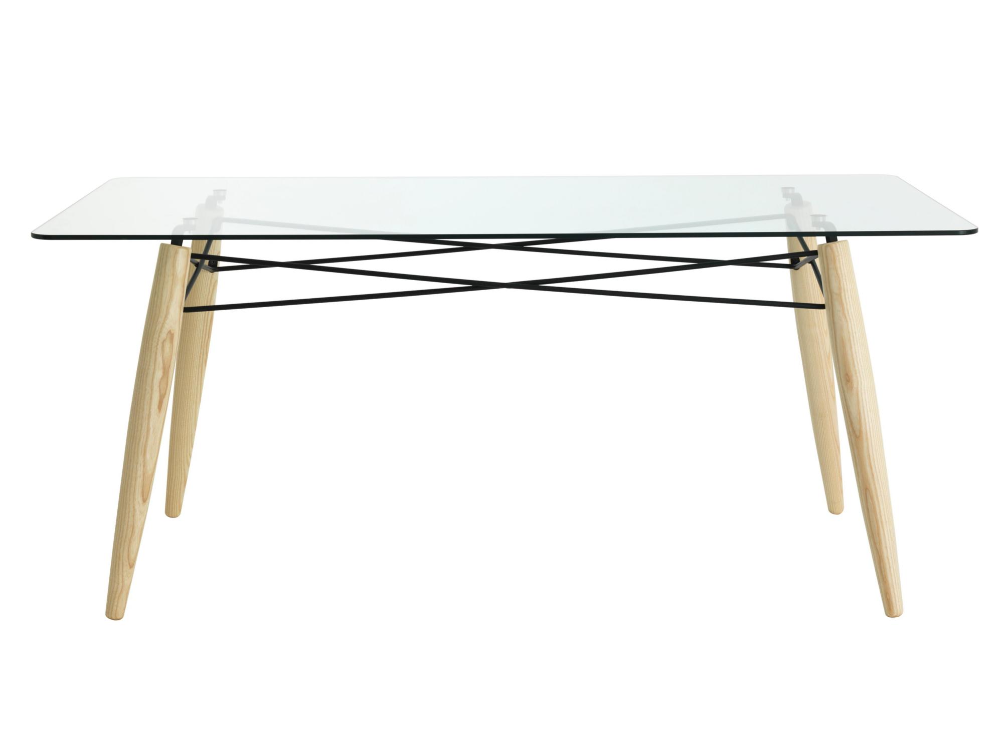 Table rectangulaire. pietement en frene massif blanchi et fils acier ...