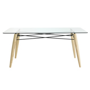 FLY-table l180 cm frene/verre