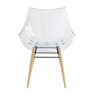 FLY-fauteuil frene blanc/transparent