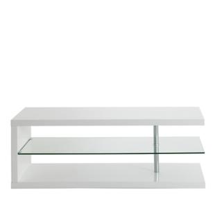 FLY-meuble tv hifi blanc/verre