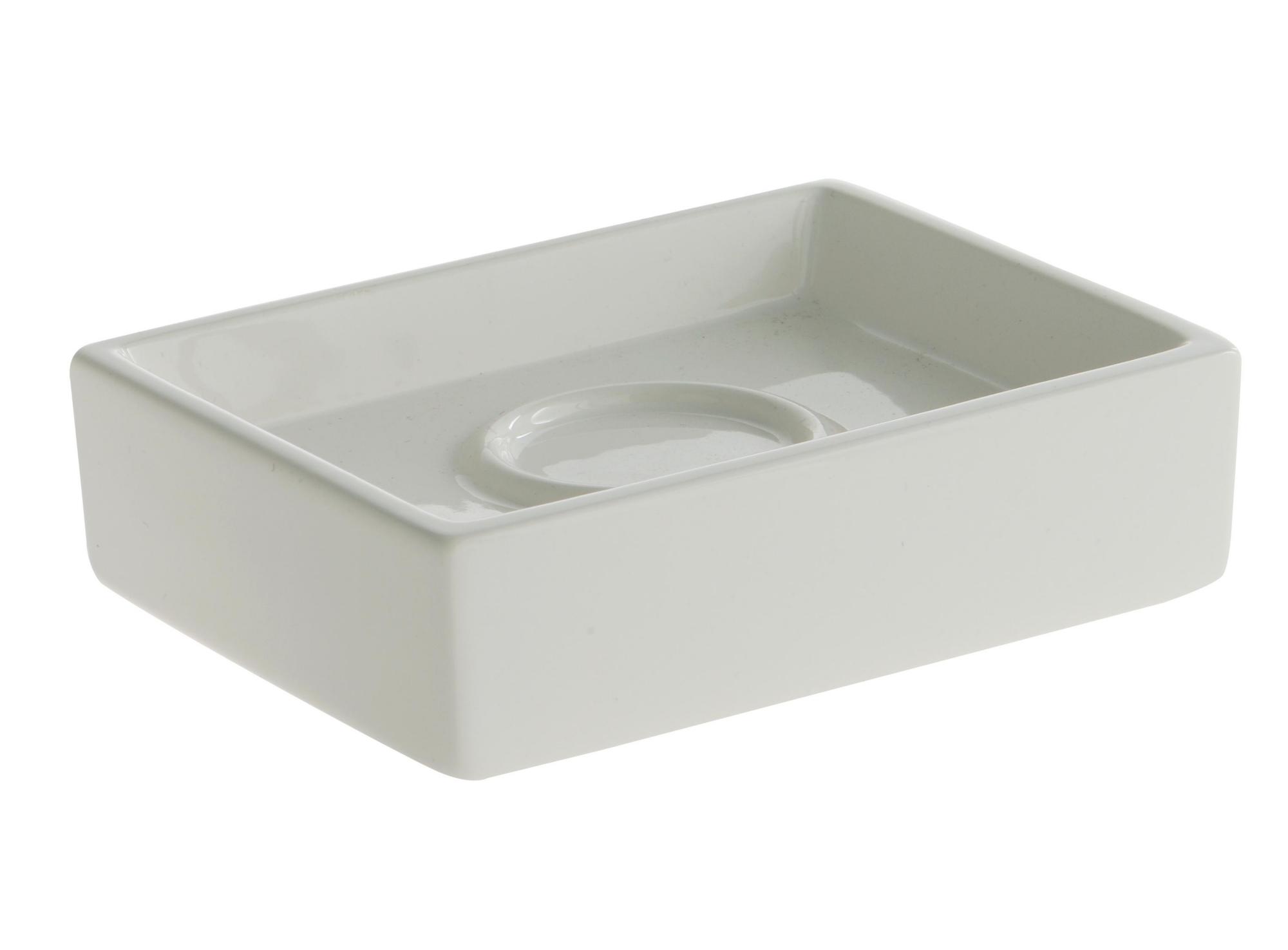 Porte-savon en faience. coloris blanc.