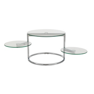 FLY-table basse, 3 plateaux verre/chrome