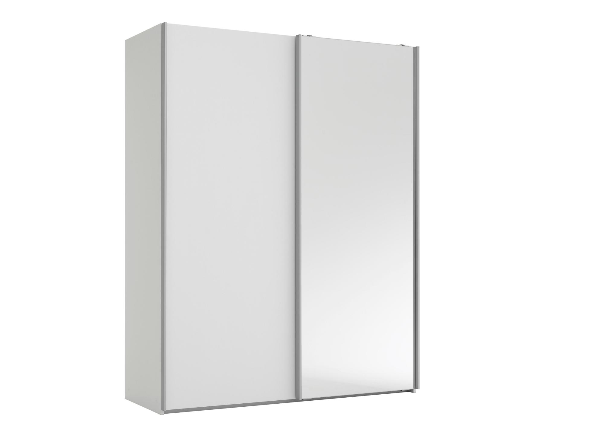 Armoire 2 portes l150 p61 cm blanc miroir armoire for Miroir fly