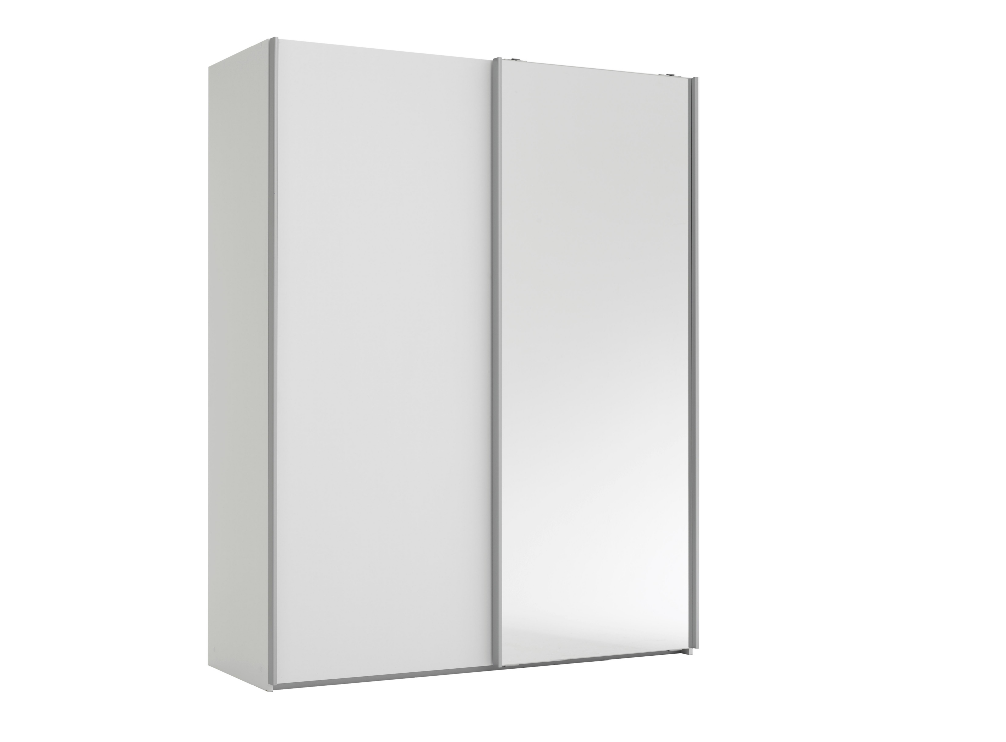Armoire 2 portes l150 p61 cm blanc miroir armoire for Armoire porte miroir