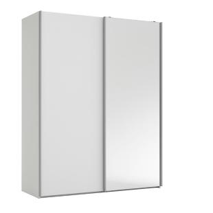 FLY-armoire 2 portes l150/p61 cm blanc/miroir