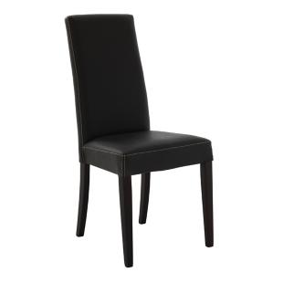 FLY-chaise en croute de cuir et hetre marron/wenge