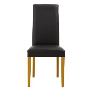 FLY-chaise en chene et croute de cuir marron