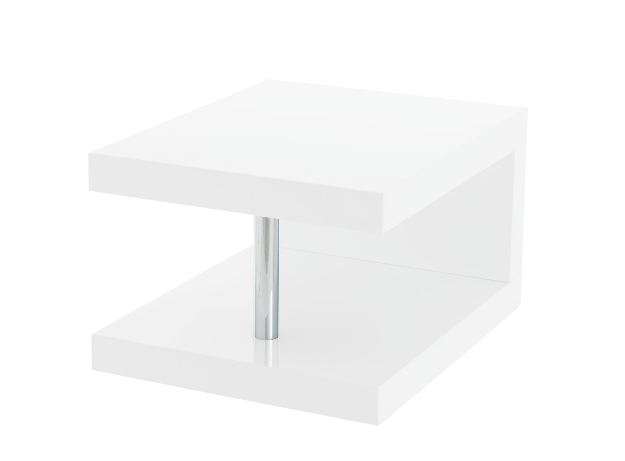 table chevet blanc brillant fly