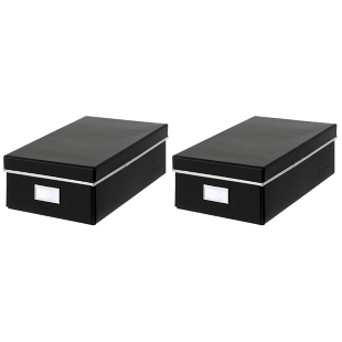 FLY-lot de 2 boites rangement en carton 32x13 cm noir