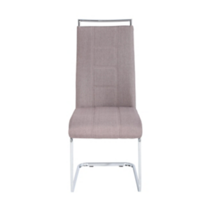 FLY-Chaise assise taupe poignée et pied luge chromes