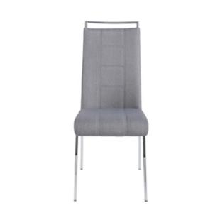 FLY-Chaise assise grise poignée et pieds chromes