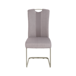 FLY-Chaise assise taupe poignée et pied luge inox