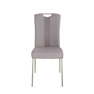 FLY-Chaise assise grise/taupe poignée et pieds inox