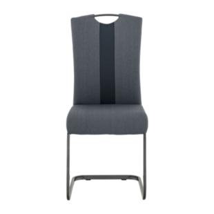 FLY-Chaise assise anthracite/noir poignée et pied gris