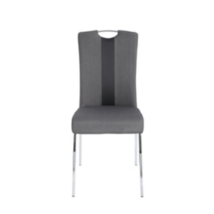 FLY-Chaise assise anthracite poignée et pieds chromes