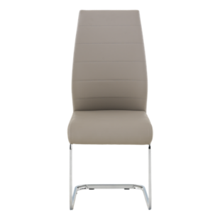FLY-Chaise assise capuccino pieds chrome