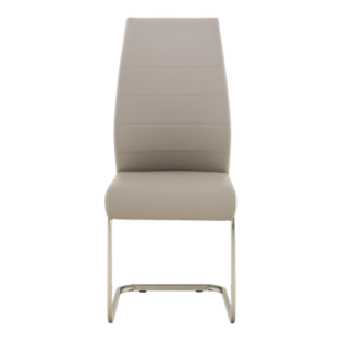 FLY-Chaise assise cappuccino pied luge inox