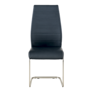 FLY-Chaise assise noire pied luge inox