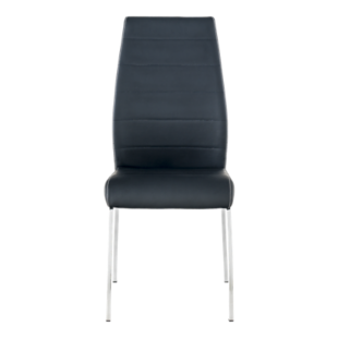 FLY-Chaise assise noire pieds chromes