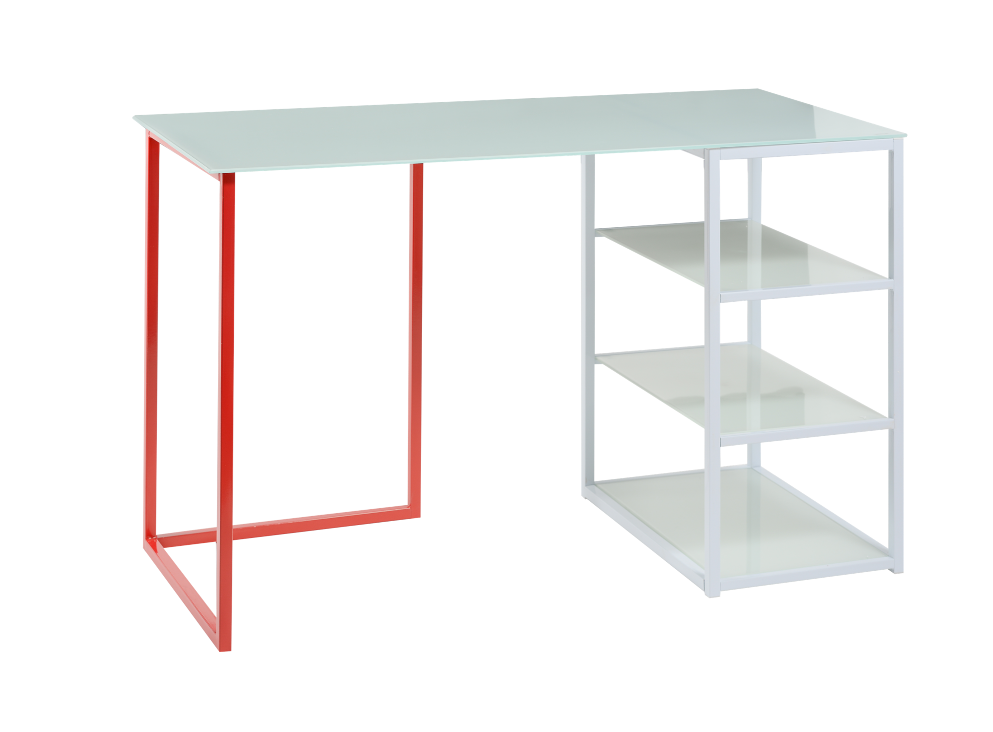 <p> Bureau plateau en verre trempé ép. 0.6 cm teinté coloris ...