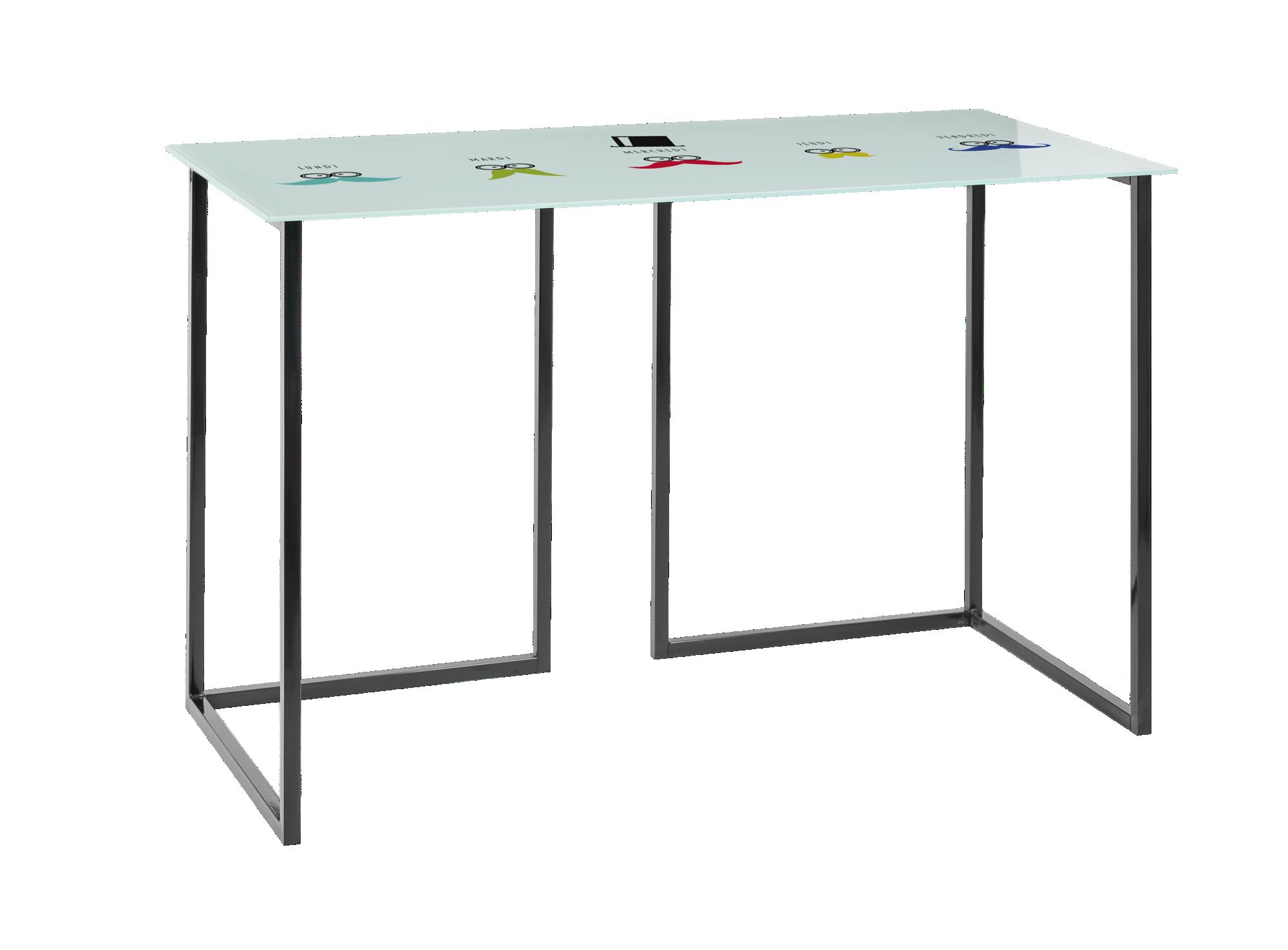 <p> Plateau en verre trempé ép.0.6cm teinté blanc motifs « ...