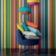 Suspension 62 % coton, 38 % polyester coloris turquoise/orange contre ...