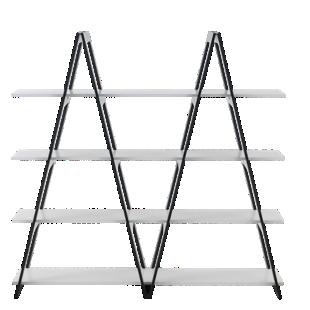 FLY-Étagère structure noire/tablettes coloris blanc
