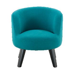 FLY-Chaise tissu bleu turquoise pied BOIS noir