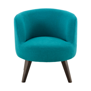 FLY-Chaise tissu bleu turquoise pied bois noyer