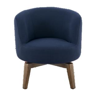FLY-Chaise tissu bleu pied rotatif bois noyer