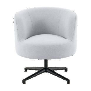 FLY-Chaise tissu gris clair pied rotatif metal noir
