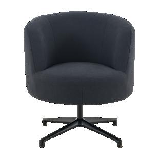 FLY-Chaise tissu gris anthracite pied rotatif metal noir