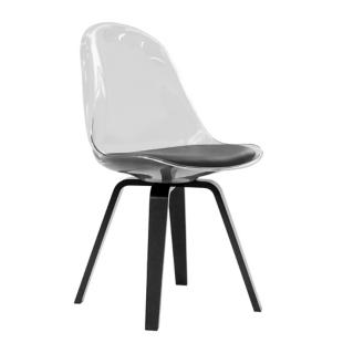 FLY-Chaise transparente pieds multiplis hetre noir